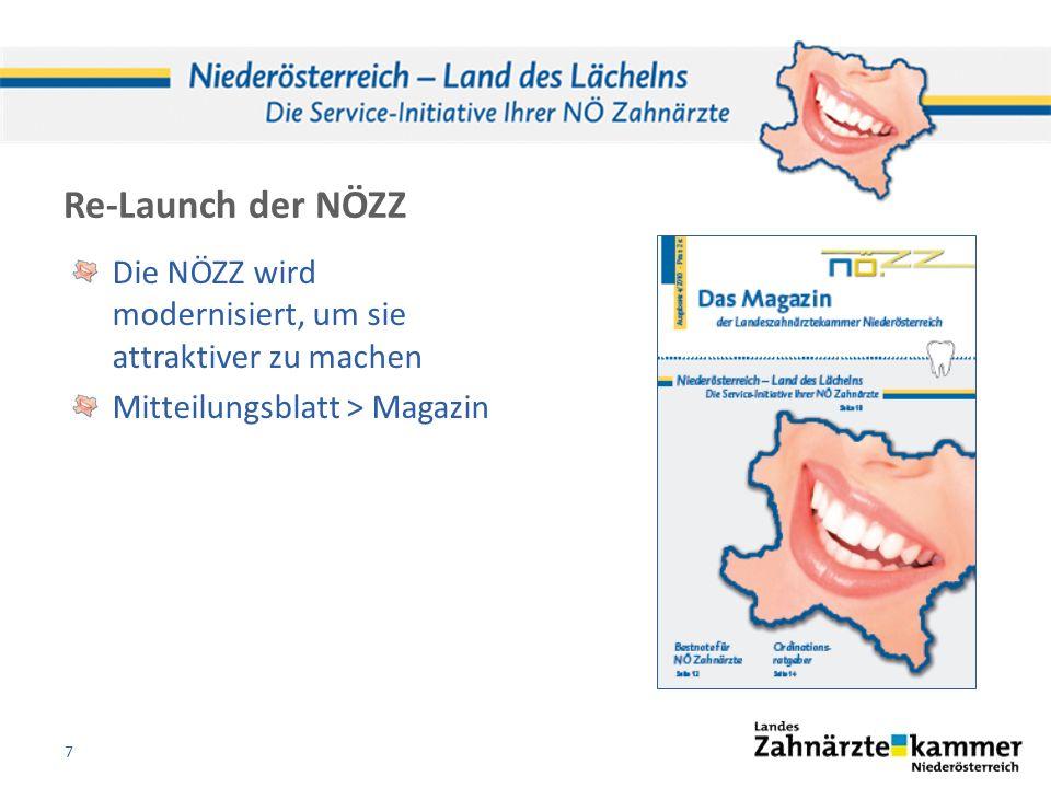 Re-Launch der NÖZZ Die NÖZZ wird modernisiert, um sie attraktiver zu machen Mitteilungsblatt > Magazin 7