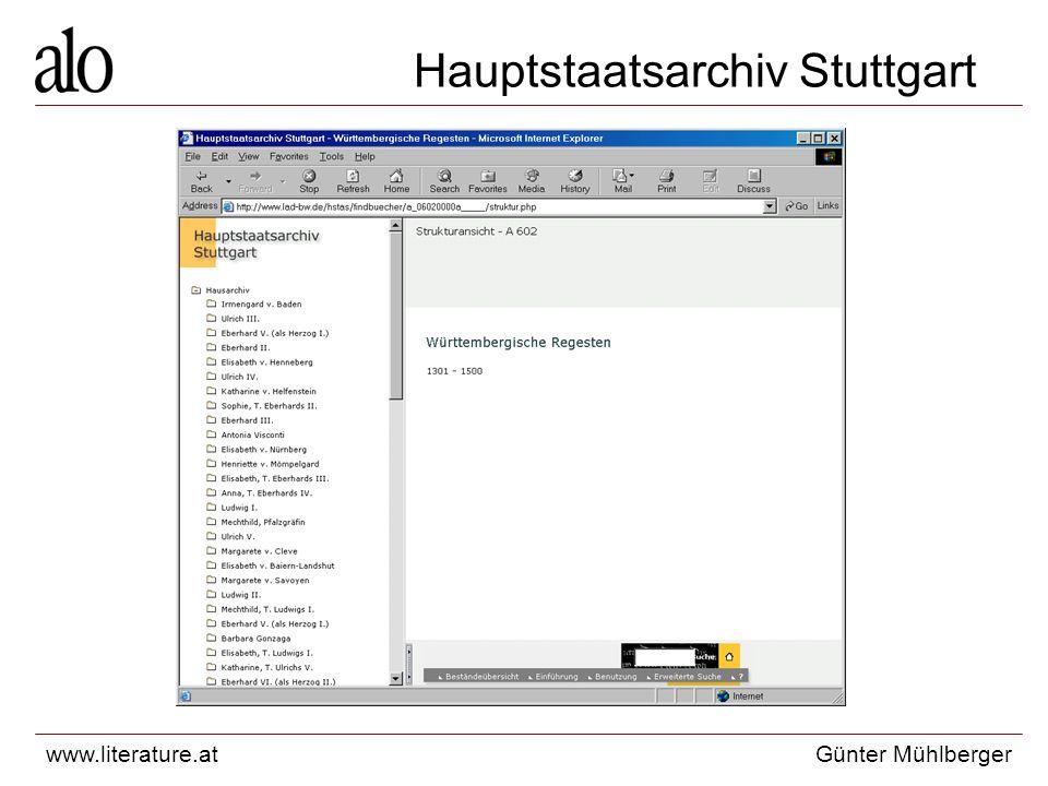 www.literature.atGünter Mühlberger Hauptstaatsarchiv Stuttgart