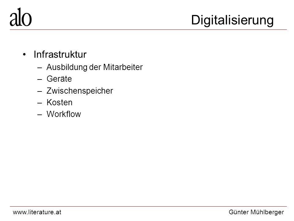 www.literature.atGünter Mühlberger Digitalisierung Infrastruktur –Ausbildung der Mitarbeiter –Geräte –Zwischenspeicher –Kosten –Workflow