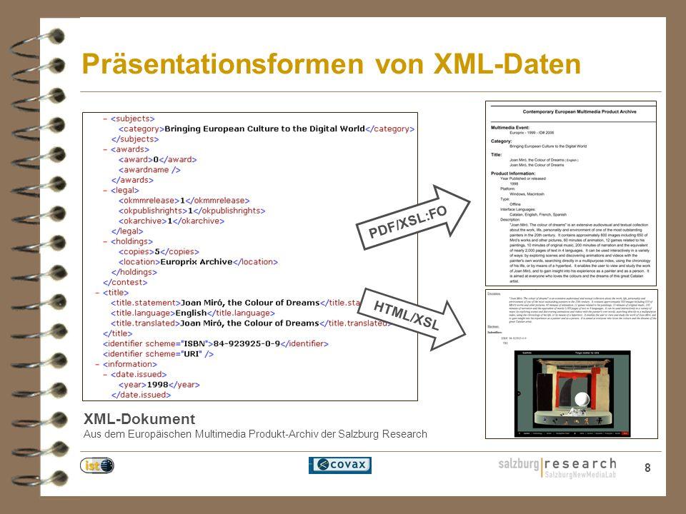 8 Präsentationsformen von XML-Daten XML-Dokument Aus dem Europäischen Multimedia Produkt-Archiv der Salzburg Research PDF/XSL:FO HTML/XSL