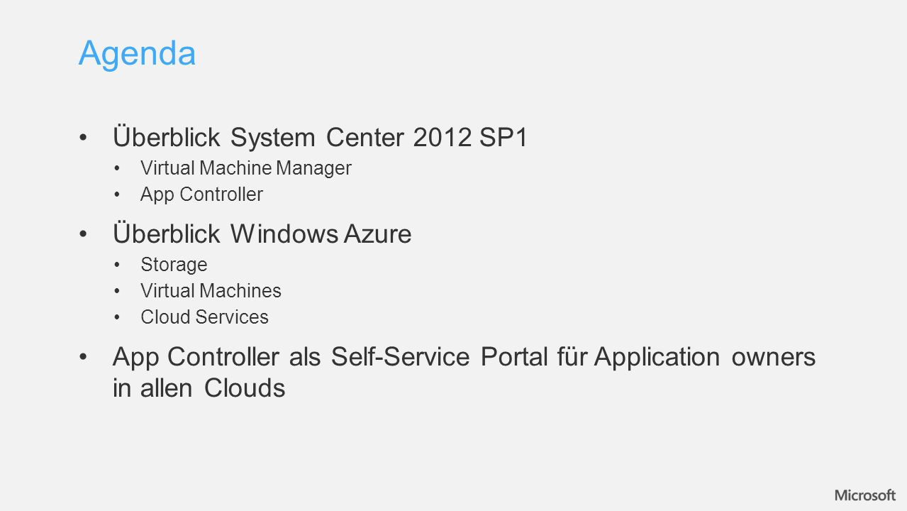 Überblick System Center 2012 SP1 Virtual Machine Manager App Controller Überblick Windows Azure Storage Virtual Machines Cloud Services App Controller