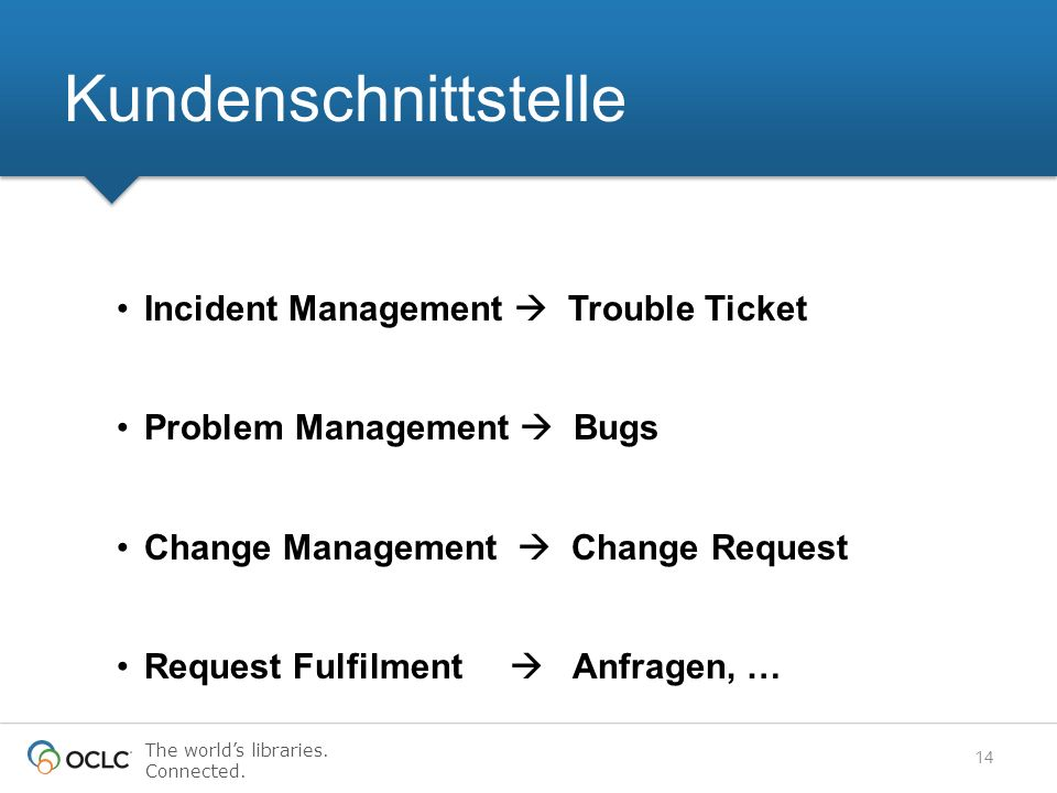 The worlds libraries. Connected. Incident Management Trouble Ticket Problem Management Bugs Change Management Change Request Request Fulfilment Anfrag