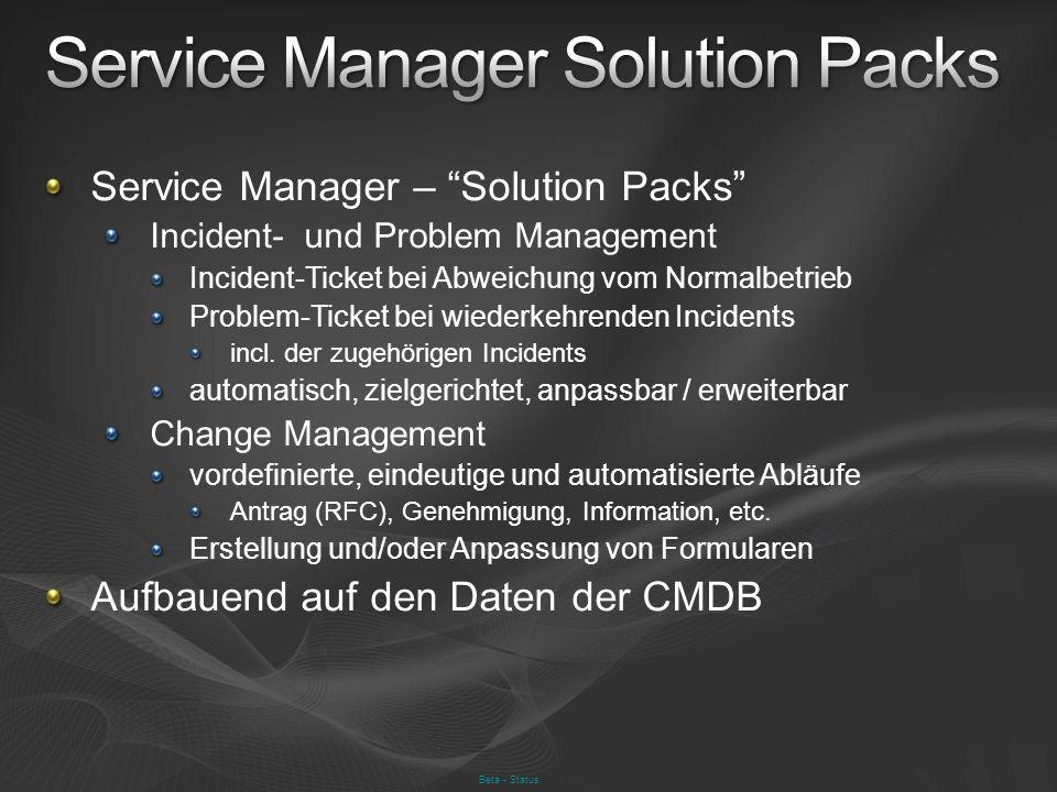 Service Manager – Solution Packs Incident- und Problem Management Incident-Ticket bei Abweichung vom Normalbetrieb Problem-Ticket bei wiederkehrenden