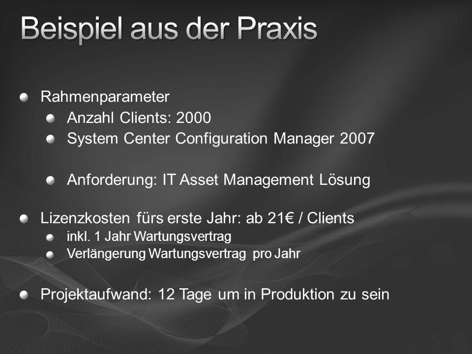 Rahmenparameter Anzahl Clients: 2000 System Center Configuration Manager 2007 Anforderung: IT Asset Management Lösung Lizenzkosten fürs erste Jahr: ab