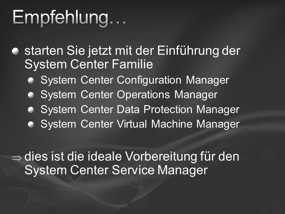 starten Sie jetzt mit der Einführung der System Center Familie System Center Configuration Manager System Center Operations Manager System Center Data