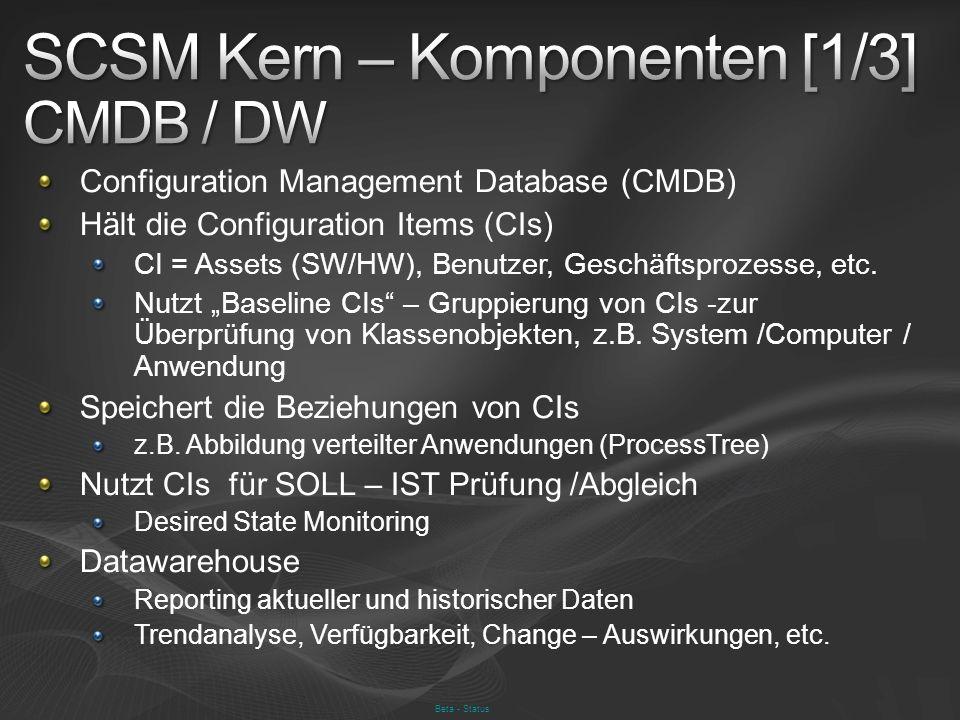 Beta - Status Configuration Management Database (CMDB) Hält die Configuration Items (CIs) CI = Assets (SW/HW), Benutzer, Geschäftsprozesse, etc. Nutzt