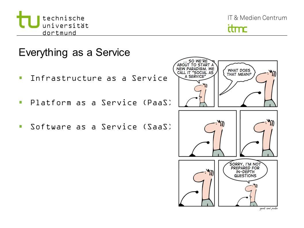 technische universität dortmund Infrastructure as a Service (IaaS) Abstrahiert Hardware zu Services Erlaubt Serverinstanzen zu starten ohne mit der Hardware in Kontakt zu kommen Eine Benutzerschnittstelle erlaubt dem Nutzer… Virtuelle Instanzen zu erstellen, zu konrtollieren und zu veraendern Die Anzahl der virtuellen Resourcen, die von virtuellen Instanzen genutzt werden zu ändern Virtuelle Netzwerkschnittstellen zu definieren und zu verändern