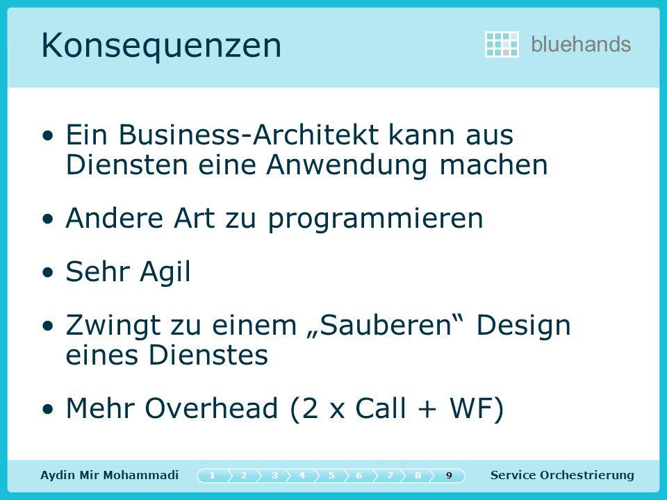 Service Orchestrierung bluehands Konsequenzen Ein Business-Architekt kann aus Diensten eine Anwendung machen Andere Art zu programmieren Sehr Agil Zwingt zu einem Sauberen Design eines Dienstes Mehr Overhead (2 x Call + WF) Aydin Mir Mohammadi 547632189
