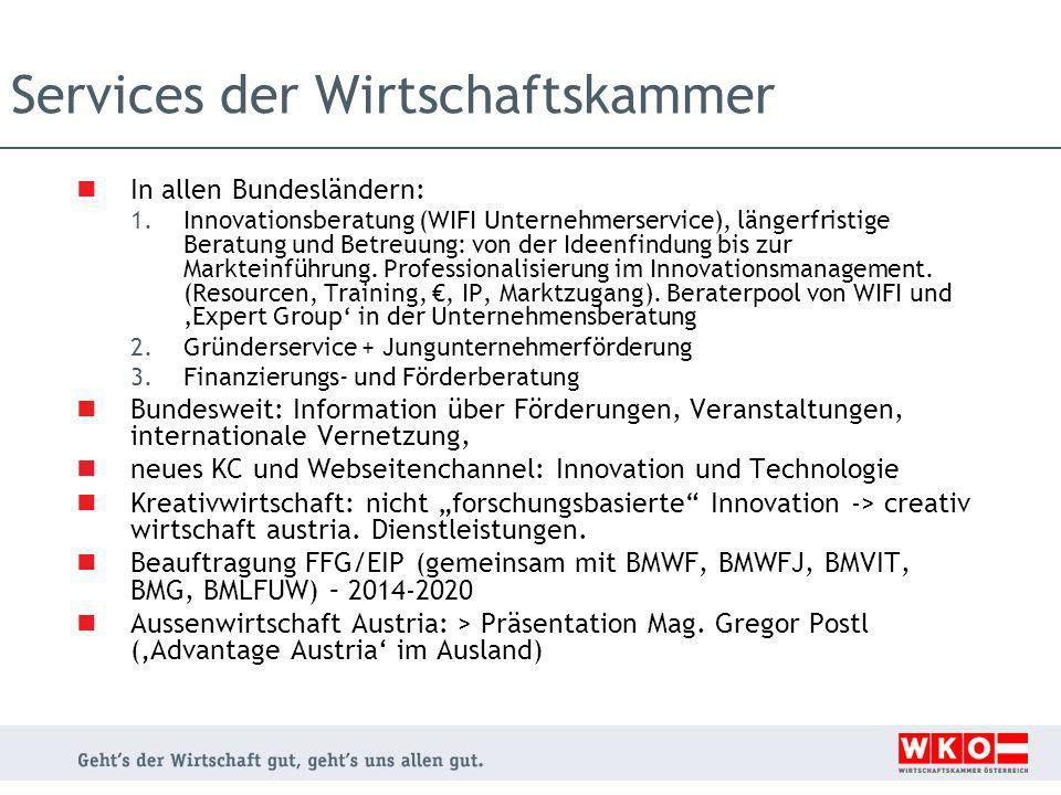 Services der Wirtschaftskammer In allen Bundesländern: 1.Innovationsberatung (WIFI Unternehmerservice), längerfristige Beratung und Betreuung: von der Ideenfindung bis zur Markteinführung.