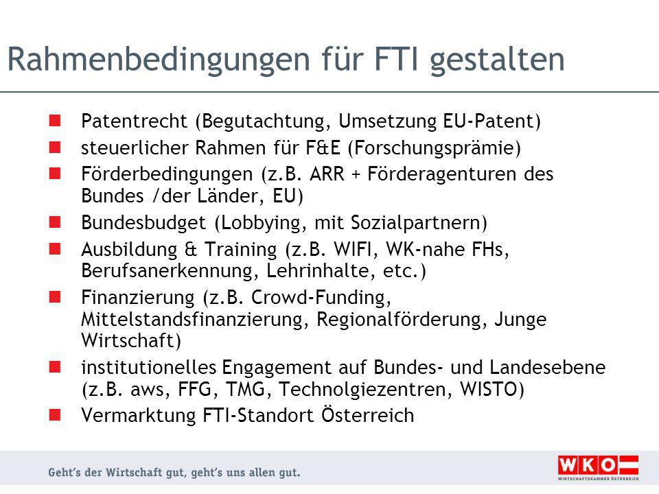 Rahmenbedingungen für FTI gestalten Patentrecht (Begutachtung, Umsetzung EU-Patent) steuerlicher Rahmen für F&E (Forschungsprämie) Förderbedingungen (z.B.
