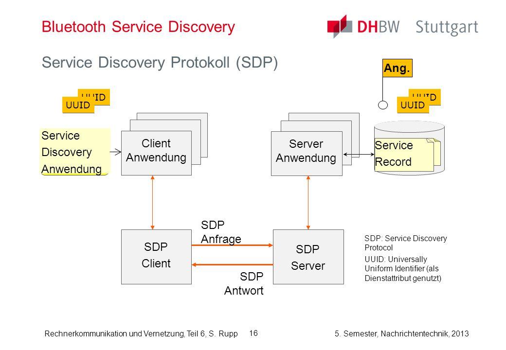 Rechnerkommunikation und Vernetzung, Teil 6, S. Rupp 5. Semester, Nachrichtentechnik, 2013 16 Bluetooth Service Discovery Service Discovery Protokoll