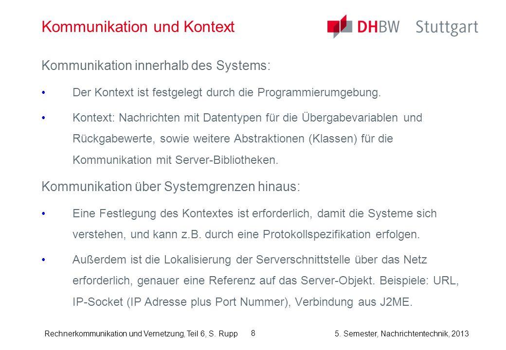Rechnerkommunikation und Vernetzung, Teil 6, S. Rupp 5. Semester, Nachrichtentechnik, 2013 8 Kommunikation und Kontext Kommunikation innerhalb des Sys