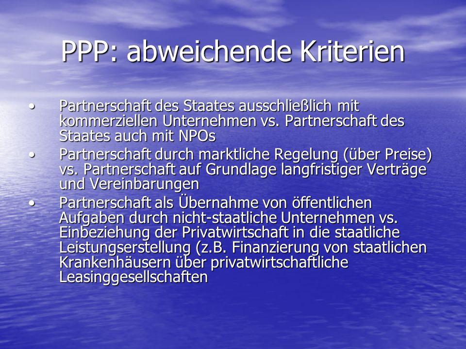 PPP: abweichende Kriterien Partnerschaft des Staates ausschließlich mit kommerziellen Unternehmen vs. Partnerschaft des Staates auch mit NPOsPartnersc
