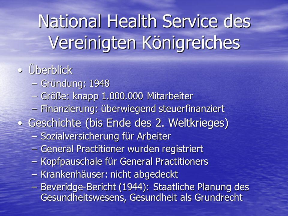 National Health Service des Vereinigten Königreiches ÜberblickÜberblick –Gründung: 1948 –Größe: knapp 1.000.000 Mitarbeiter –Finanzierung: überwiegend