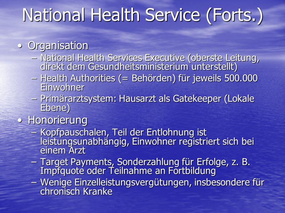 OrganisationOrganisation –National Health Services Executive (oberste Leitung, direkt dem Gesundheitsministerium unterstellt) –Health Authorities (= B