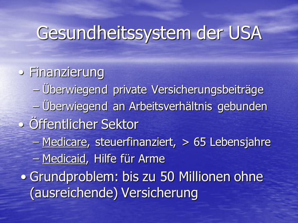 Gesundheitssystem der USA FinanzierungFinanzierung –Überwiegend private Versicherungsbeiträge –Überwiegend an Arbeitsverhältnis gebunden Öffentlicher