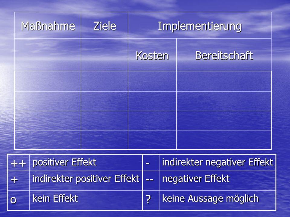 MaßnahmeZieleImplementierung KostenBereitschaft ++ positiver Effekt + indirekter positiver Effekt o kein Effekt - indirekter negativer Effekt -- negat