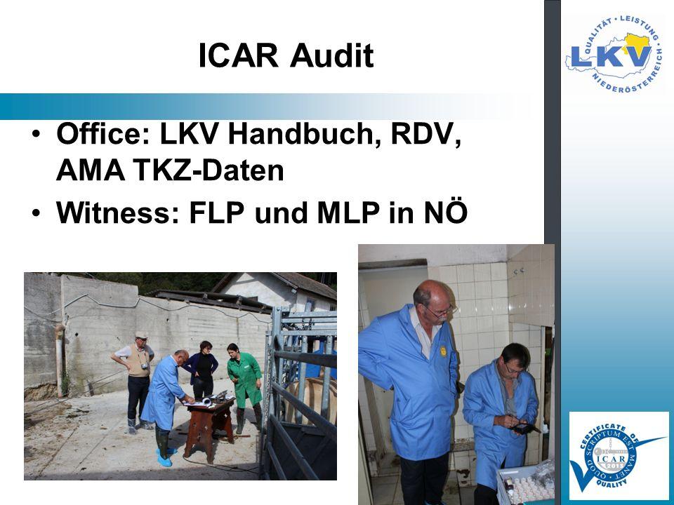 ICAR Audit Office: LKV Handbuch, RDV, AMA TKZ-Daten Witness: FLP und MLP in NÖ