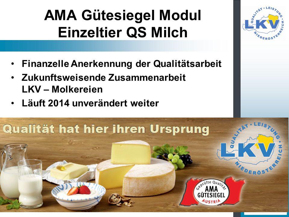 AMA Gütesiegel Modul Einzeltier QS Milch Finanzelle Anerkennung der Qualitätsarbeit Zukunftsweisende Zusammenarbeit LKV – Molkereien Läuft 2014 unverä