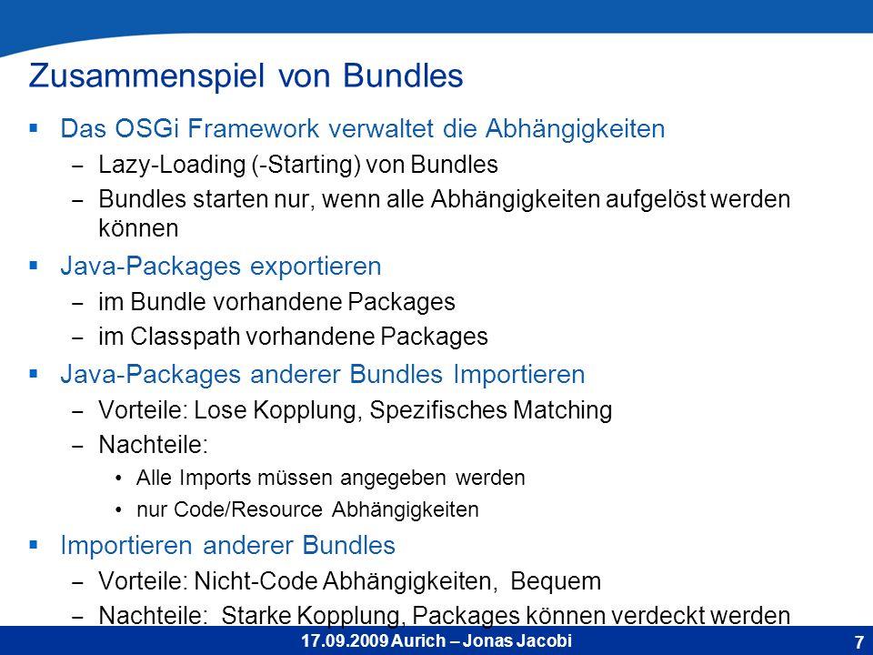 17.09.2009 Aurich – Jonas Jacobi OSGi Class Loading Jedes Bundle besitzt einen eigenen ClassLoader!.
