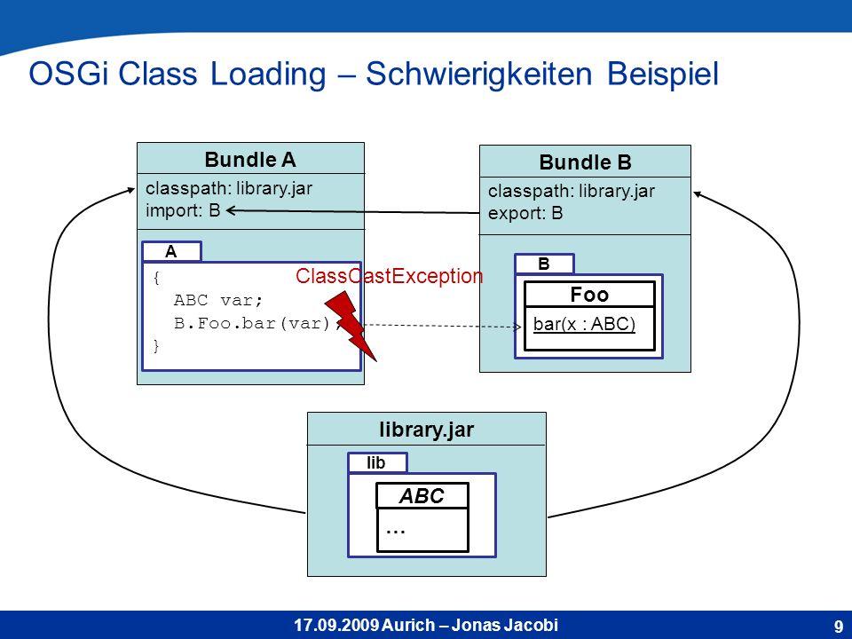 17.09.2009 Aurich – Jonas Jacobi Bundle B B classpath: library.jar export: B Bundle A classpath: library.jar import: B OSGi Class Loading – Schwierigkeiten Beispiel 9 { ABC var; B.Foo.bar(var); } A library.jar lib … ABC bar(x : ABC) Foo ClassCastException