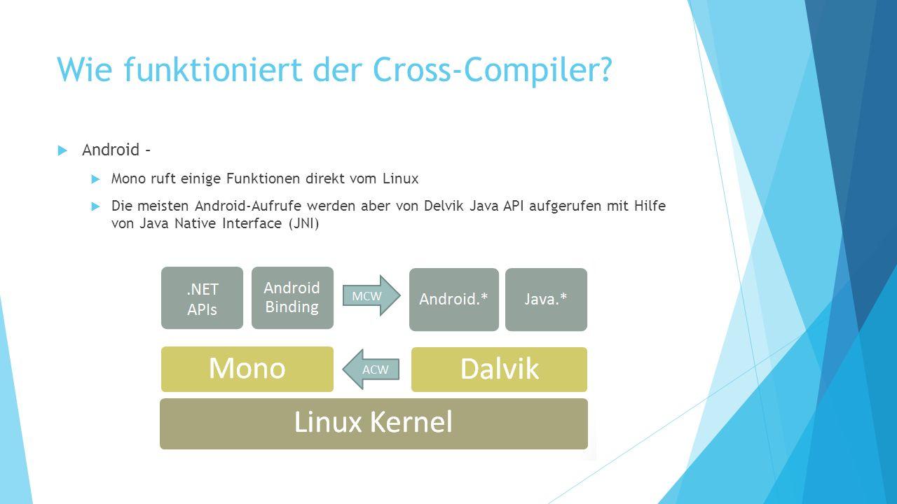 Wie funktioniert der Cross-Compiler? Android – Mono ruft einige Funktionen direkt vom Linux Die meisten Android-Aufrufe werden aber von Delvik Java AP