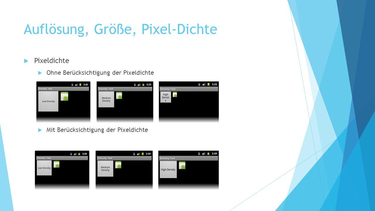 Auflösung, Größe, Pixel-Dichte Pixeldichte Ohne Berücksichtigung der Pixeldichte Mit Berücksichtigung der Pixeldichte