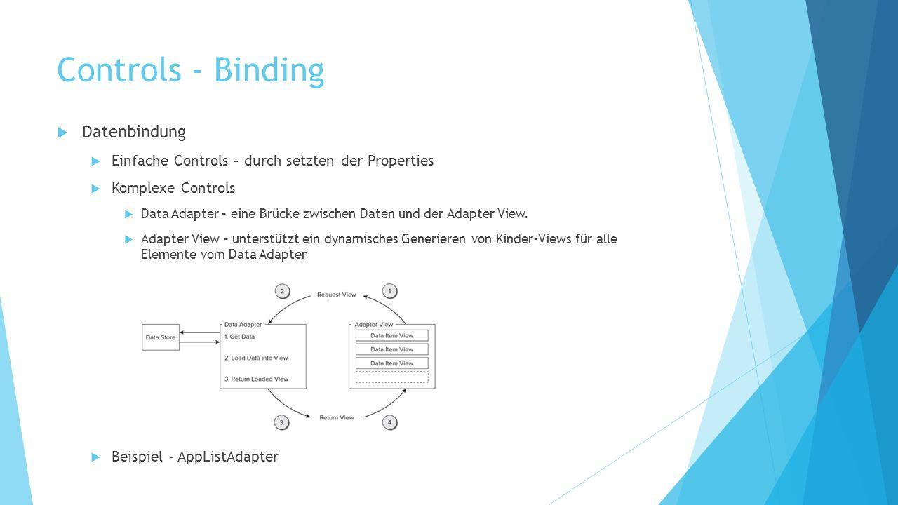 Controls - Binding Datenbindung Einfache Controls – durch setzten der Properties Komplexe Controls Data Adapter – eine Brücke zwischen Daten und der Adapter View.
