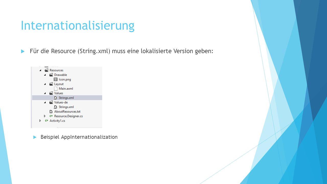 Internationalisierung Für die Resource (String.xml) muss eine lokalisierte Version geben: Beispiel AppInternationalization