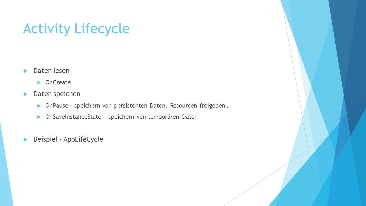 Daten lesen OnCreate Daten speichen OnPause – speichern von persistenten Daten, Resourcen freigeben… OnSaveInstanceState – speichern von temporären Daten Beispiel - AppLifeCycle