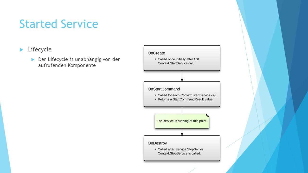 Started Service Lifecycle Der Lifecycle is unabhängig von der aufrufenden Komponente
