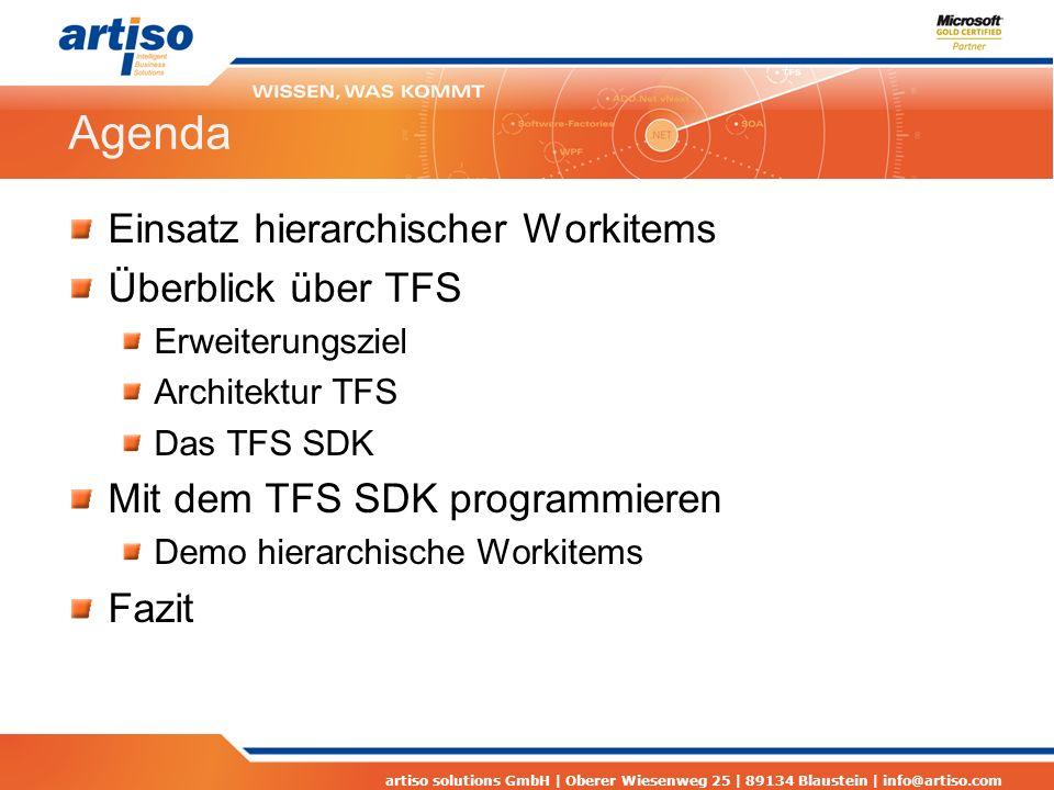 artiso solutions GmbH | Oberer Wiesenweg 25 | 89134 Blaustein | info@artiso.com Agenda Einsatz hierarchischer Workitems Überblick über TFS Erweiterung