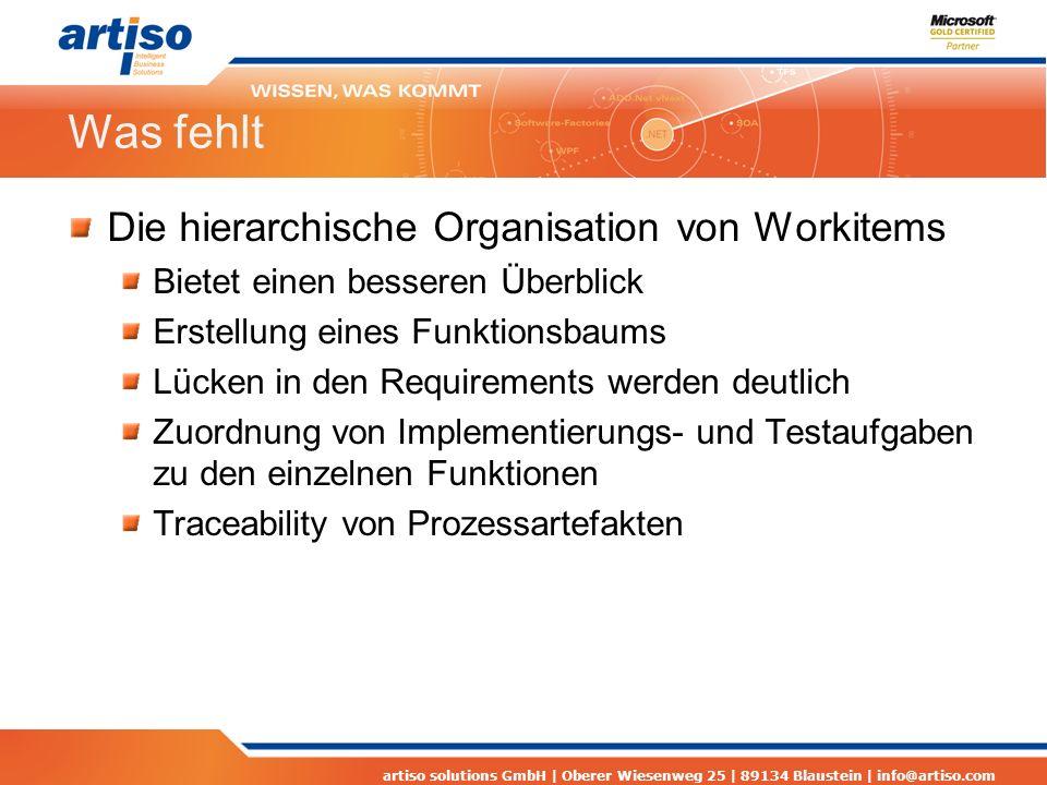 artiso solutions GmbH | Oberer Wiesenweg 25 | 89134 Blaustein | info@artiso.com Was fehlt Die hierarchische Organisation von Workitems Bietet einen be