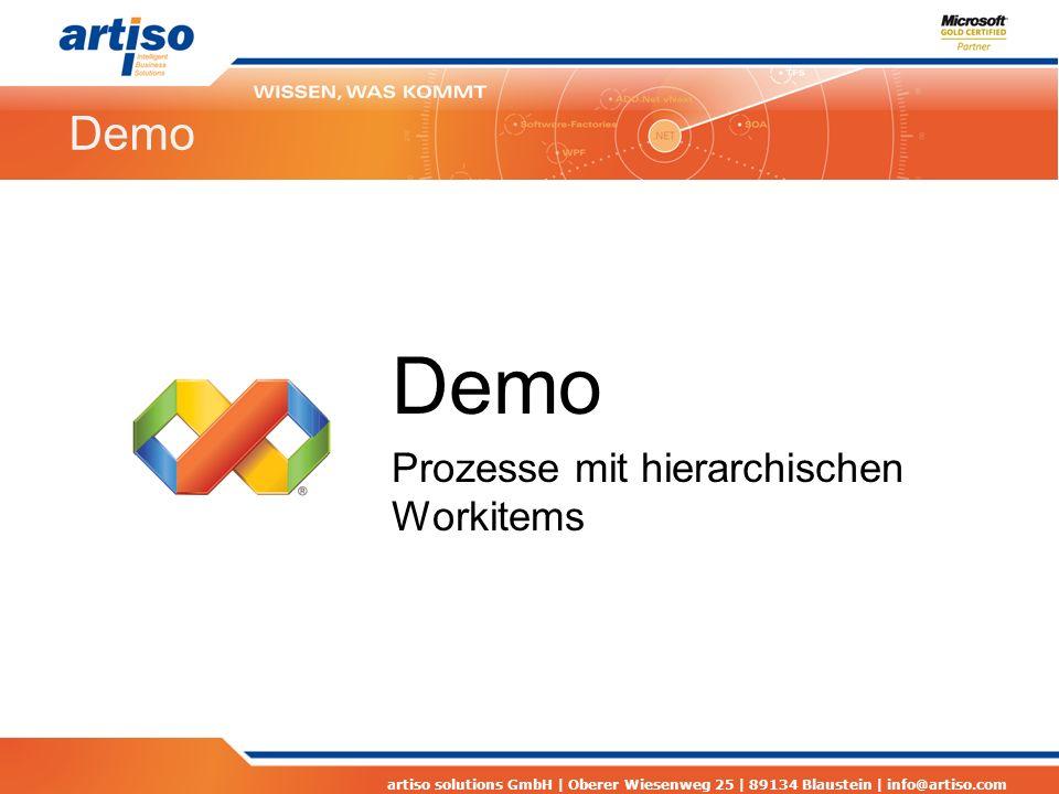 artiso solutions GmbH | Oberer Wiesenweg 25 | 89134 Blaustein | info@artiso.com Demo Prozesse mit hierarchischen Workitems