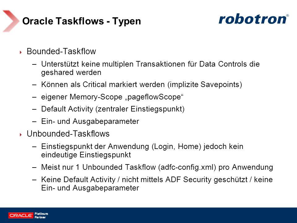 Oracle Taskflows - Typen Bounded-Taskflow –Unterstützt keine multiplen Transaktionen für Data Controls die geshared werden –Können als Critical markie