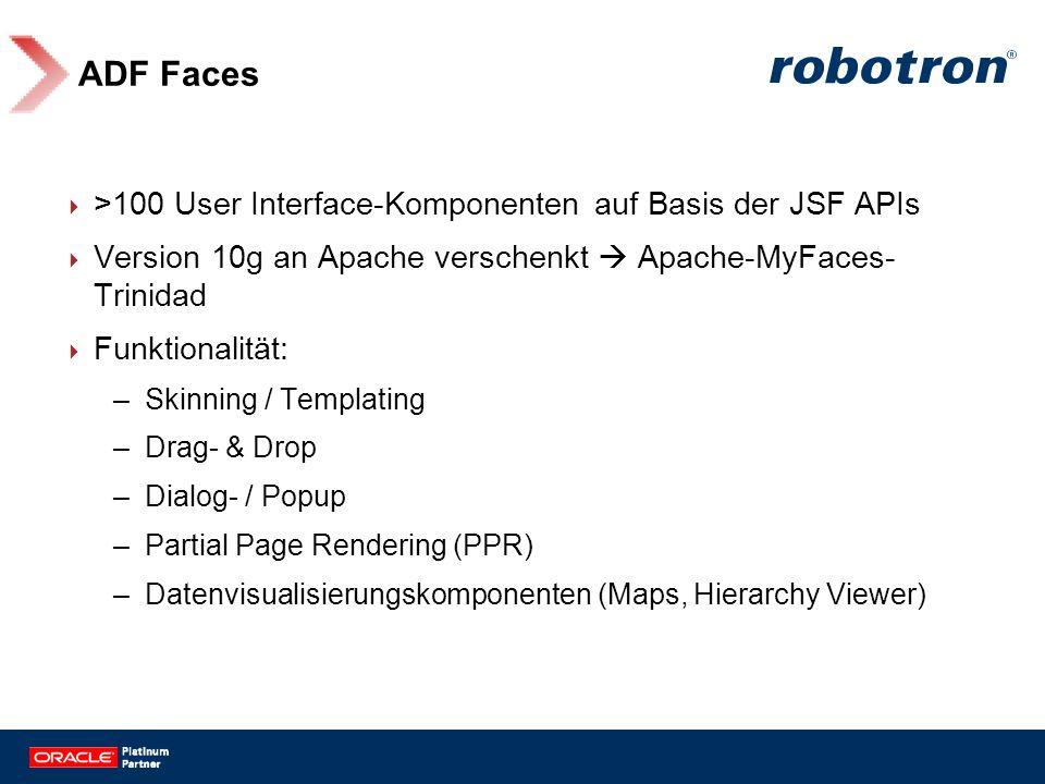 ADF Faces >100 User Interface-Komponenten auf Basis der JSF APIs Version 10g an Apache verschenkt Apache-MyFaces- Trinidad Funktionalität: –Skinning /
