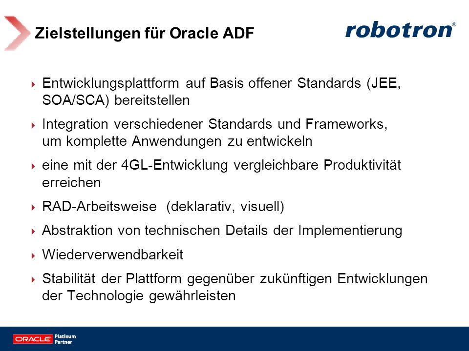 Zielstellungen für Oracle ADF Entwicklungsplattform auf Basis offener Standards (JEE, SOA/SCA) bereitstellen Integration verschiedener Standards und F