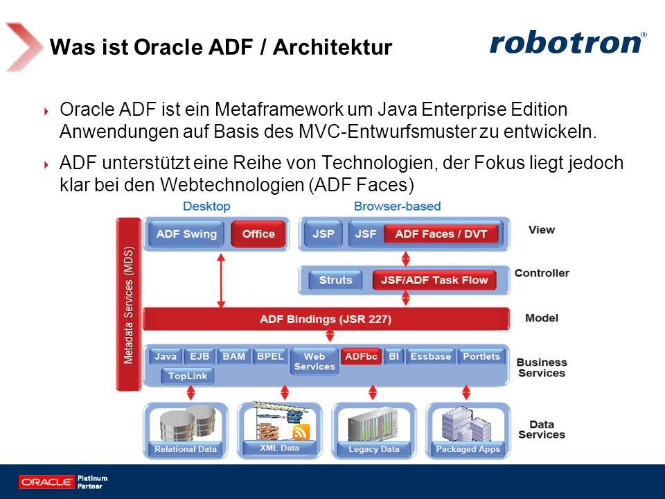 Was ist Oracle ADF / Architektur Oracle ADF ist ein Metaframework um Java Enterprise Edition Anwendungen auf Basis des MVC-Entwurfsmuster zu entwickel