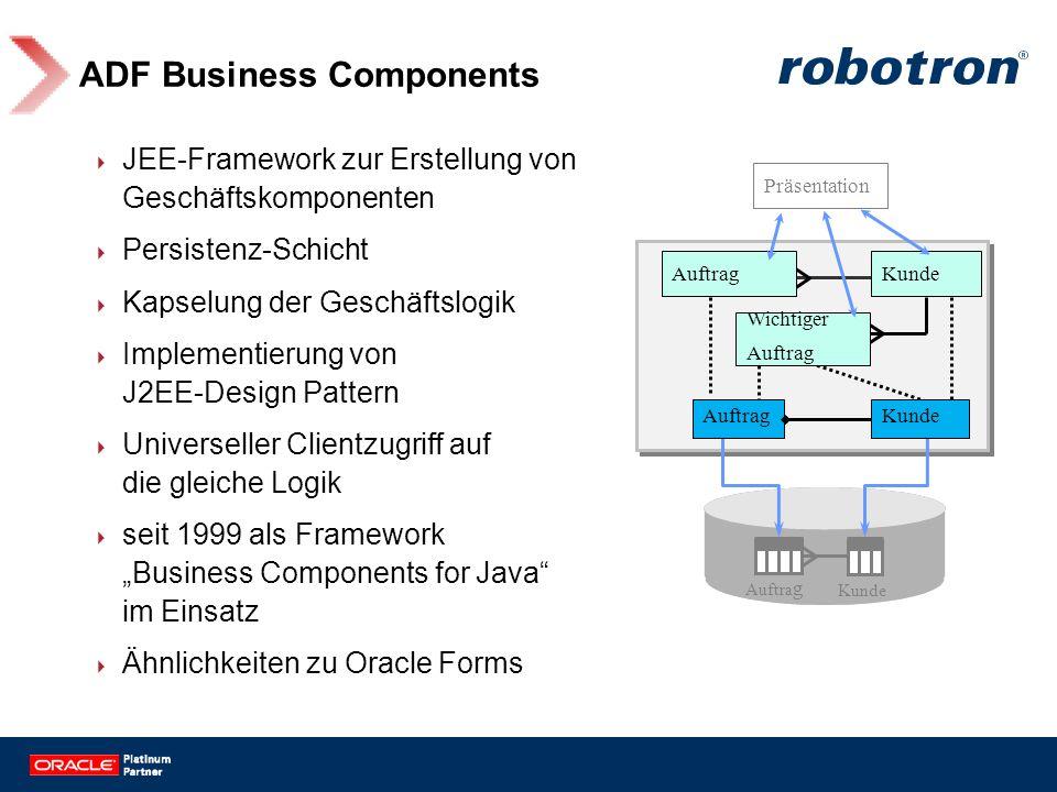 ADF Business Components JEE-Framework zur Erstellung von Geschäftskomponenten Persistenz-Schicht Kapselung der Geschäftslogik Implementierung von J2EE