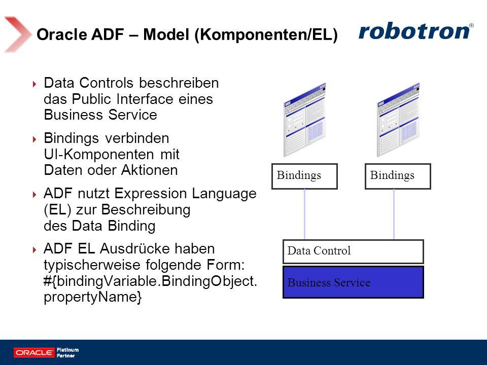 Oracle ADF – Model (Komponenten/EL) Data Controls beschreiben das Public Interface eines Business Service Bindings verbinden UI-Komponenten mit Daten