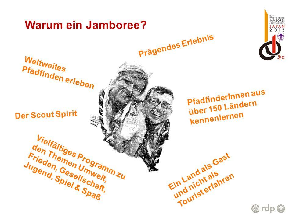 Warum ein Jamboree? Der Scout Spirit PfadfinderInnen aus über 150 Ländern kennenlernen Vielfältiges Programm zu den Themen Umwelt, Frieden, Gesellscha
