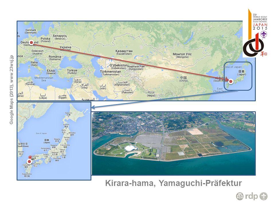 Kirara-hama, Yamaguchi-Präfektur Google Maps (2013), www.23wsj.jp