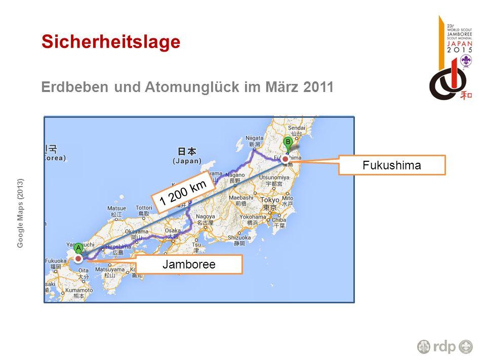 Google Maps (2013) Sicherheitslage Erdbeben und Atomunglück im März 2011 Fukushima Jamboree 1 200 km