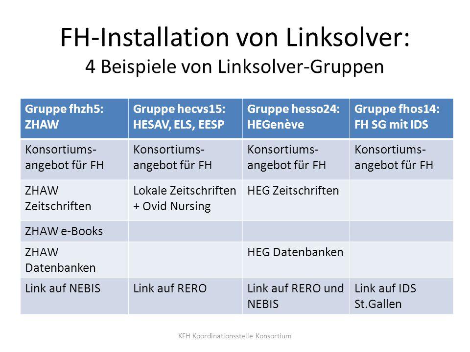 FH-Installation von Linksolver: 4 Beispiele von Linksolver-Gruppen Gruppe fhzh5: ZHAW Gruppe hecvs15: HESAV, ELS, EESP Gruppe hesso24: HEGenève Gruppe
