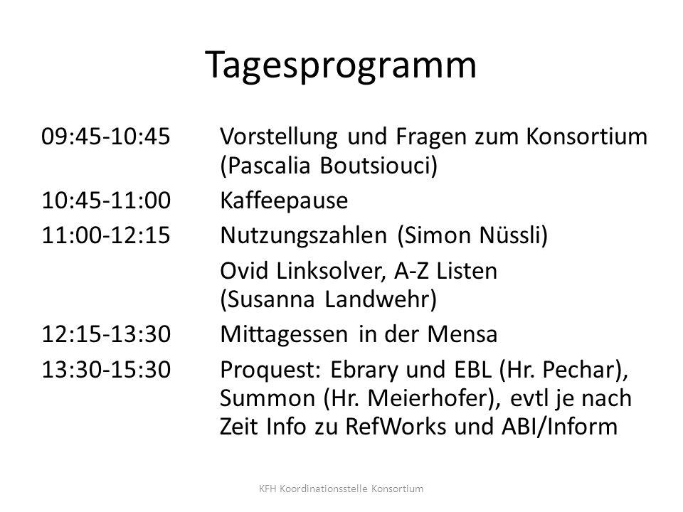 Tagesprogramm 09:45-10:45 Vorstellung und Fragen zum Konsortium (Pascalia Boutsiouci) 10:45-11:00 Kaffeepause 11:00-12:15 Nutzungszahlen (Simon Nüssli
