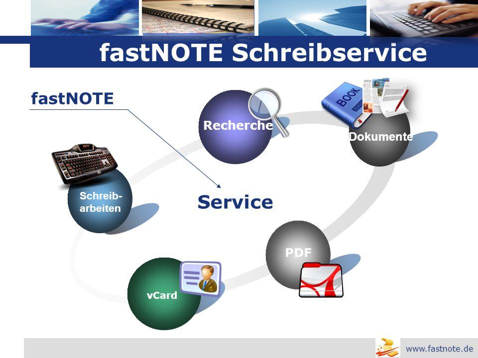 L o g o Schreib- arbeiten Recherche Dokumente PDF vCard Service fastNOTE www.fastnote.de fastNOTE Schreibservice