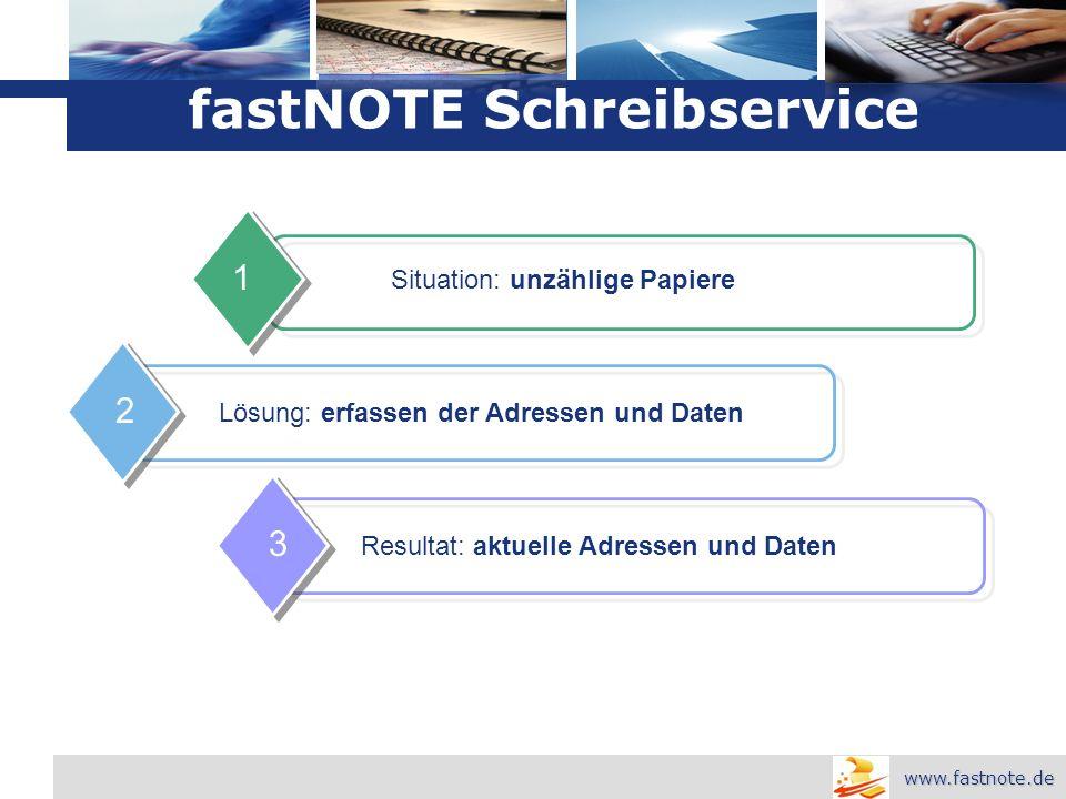 L o g o Situation: unzählige Papiere 1 Lösung: erfassen der Adressen und Daten 2 Resultat: aktuelle Adressen und Daten 3 fastNOTE Schreibservice www.fastnote.de