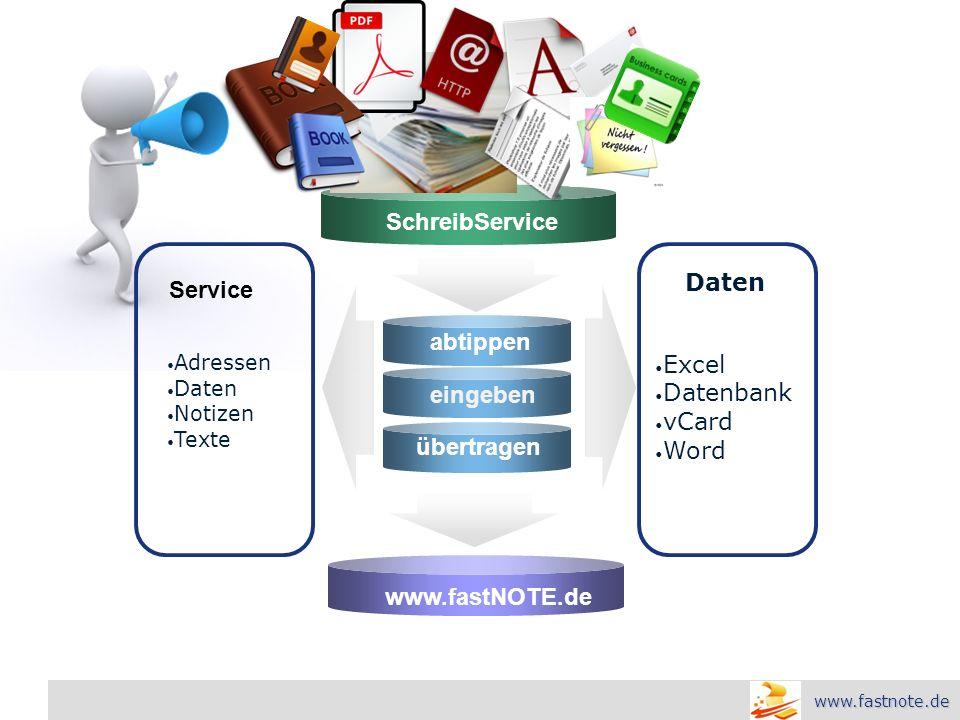 L o g o abtippen eingeben übertragen Adressen Daten Notizen Texte Excel Datenbank vCard Word SchreibService www.fastNOTE.de Daten Service www.fastnote.de