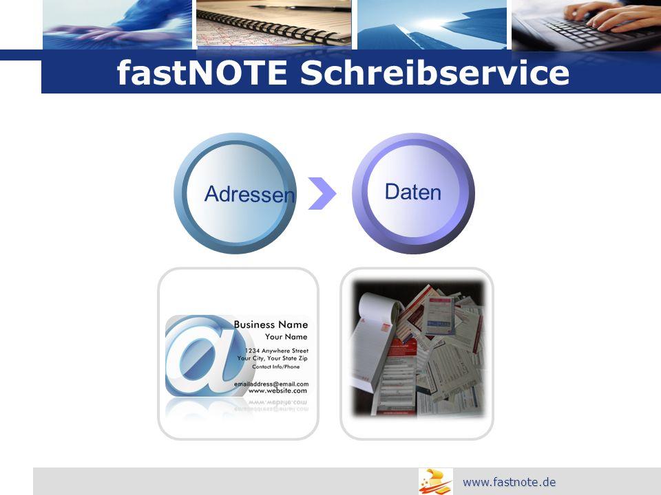 L o g o Daten fastNOTE Schreibservice www.fastnote.de Adressen