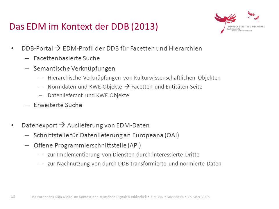 10 Das Europeana Data Model im Kontext der Deutschen Digitalen Bibliothek KIM-WS Mannheim 25.März 2013 DDB-Portal EDM-Profil der DDB für Facetten und